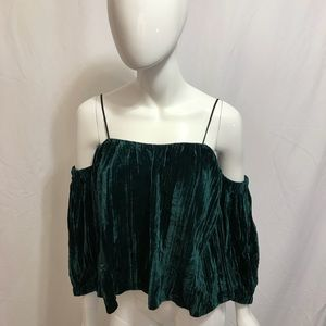 Topshop Green Velvet Holiday Top Off Shoulder